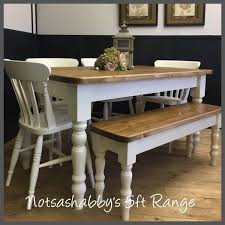 5ft solid new handmade pine farmhouse table chairs and bench