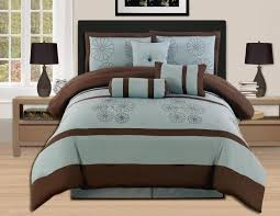 enchanting brown and aqua blue comforter set elegant design with brown and aqua blue finish matching decorative pillows solid brown color flat sheet