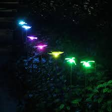 Green Solar Lights 2019 New Solar Garden Lights Rechargeable Color Changing Wireless Hummingbird Butterfly Dragon Fly On Stainless Steel Stake From Outdoor_light