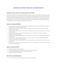 Customer Service Job Description For Resume Resume Template Incredible Customer Service Representative 1