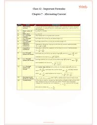 Physics Formula Chart Pdf Cbse Class 12 Physics Chapter 7 Alternating Current