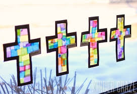 tutorial to create stained glass tissue paper crosses