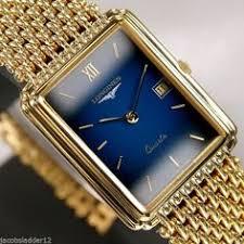swiss longines flagship men s quartz date blue dial rare vintage longines elegance quartz date 18k gold plated blue dial swiss mens vintage watch