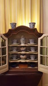 vintage wooden display cabinet with group of 20 pieces blue delft maastricht china