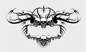 vintage frame tattoo designs. Grunge Skulls Frame Vector Vintage Tattoo Designs O