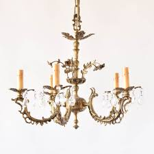 vintage bronze chandelier with crystals