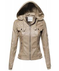 women s faux leather jacket with detachable hood