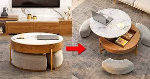 Get 5% in rewards with club o! This Amazing Rising Coffee Table Has 3 Integrated Ottomans That Hide Underneath It