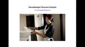 Housekeeper Resume Sample Youtube