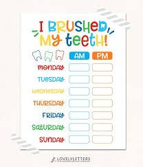 Teeth Brushing Chart Teeth Brushing Chart Digital I Brushed My Teeth Kids Brushing Teeth Chart Teeth Printable Teeth Reward Chart Kids Chart Print