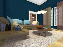 Living Room Ideas - Living Room with dark blue wall color and corner sofa