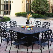 darlee florence 9 piece cast aluminum patio fire pit dining set dining table with ice
