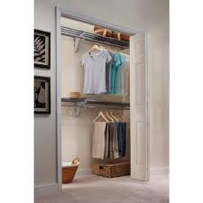 steel closet organizer kit with 2 expandable shelf and rod units in silver with end bracket