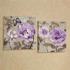 on canvas wall art purple flowers with floral delight purple flower canvas wall art set