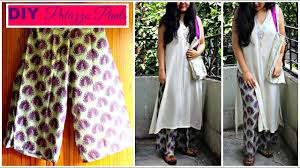 how to make palazzo pants in 20 minutes from any fabric or old saree diy palazzo pants