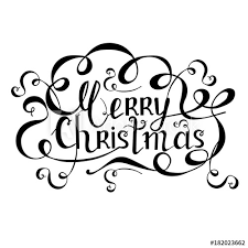Christmas Swirls Typography Monochrome Banner Lettering Merry Christmas