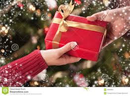 Man And Woman Gift Exchange With Snow Flakes Border Royalty Free Exchange Christmas Gifts