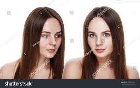 beautiful young brunette model before after stock photo 398295424 shutterstock