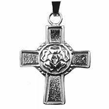 luther rose stainless steel confirmation cross necklace j 29