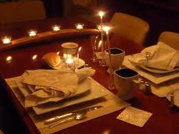 romantic dinner table set food planned
