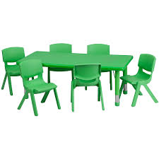 school table. Amazon.com: Flash Furniture 24\u0027\u0027W X 48\u0027\u0027L Rectangular Green Plastic Height Adjustable Activity Table Set With 6 Chairs: Kitchen \u0026 Dining School