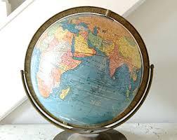 world globe on stand. Vintage World Globe Crams Metal Stand On