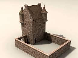 POITRA Visual d Model Catalogue   D Model th Century Scottish     D Model th Century Scottish Border Tower House   barmkin wall  Fourmerkland  located in
