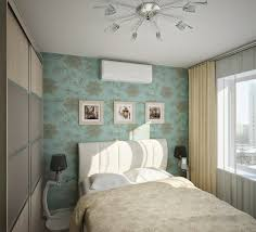 Design ideas for small bedrooms with wallpaper from flowers in white color