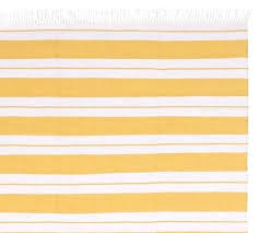 yellow striped rug gray