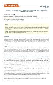Pdf Sensory Processing Disorder Spd And Sensory