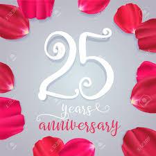 Wedding Anniversary Greeting Card Designs 25 Years Anniversary Vector Icon Logo Graphic Design Element