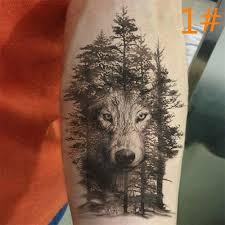 4 Styly Vodotěsné Dočasné Tetování Samolepky Velké Vlk Lesní Vodní Přenos Fake Tattoo At Vova