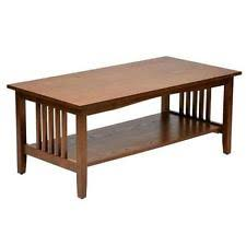 Mission Style Coffee Table Square Medium Oak Finish Living Room Wood  Furniture
