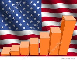 Illustration Of Graph And American Flag