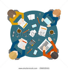 round table clipart top view. flat style office workers business management meeting and brainstorming on the round table in top view clipart b