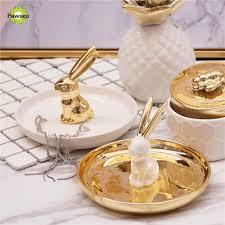 Nordic Stil Keramik Kaninchen Form Schmuck Ablage Goldweiße Farbe