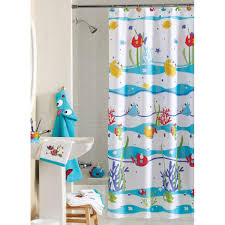 Bathroom Fish Decor Gorgeous Colorful Polyester Kids Shower Curtain Cute Pony Pattern