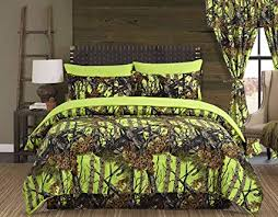Regal Comfort The Woods Lime Green Camouflage King 4 Piece Premium Luxury Comforter, Bed Skirt, and 2 Pillow Shams Set - Camo Bedding Set for Hunters ...
