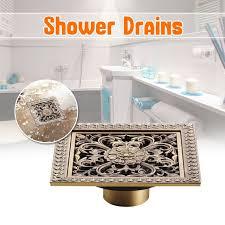 bathroom shower drains 12 x 12cm square bath drains strainer hair antique brass art carved bathroom