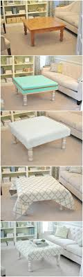 diy upholstered ottoman made from old coffee table