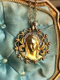 vine spanish 18k gold and diamond blessed mother virgin mary medal necklace vine catholic religious jewelry gift first munion this
