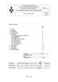 Accu Chek Reading Chart Standard Operating Procedure Accu Chek Go Ref No