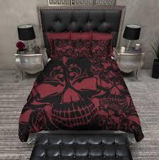 Skull Bedroom Accessories Red And Black Collage Skull Duvet Bedding Sets Cases Side