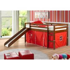 bunk bed with slide and tent. Donco Kids Twin Loft Tent Bed With Slide - Light Espresso Bunk And L
