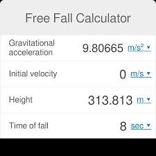 Free Fall Calculator Omni
