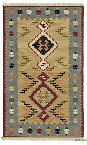 beige light blue new turkish kilim rug
