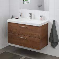 Godmorgon Odensvik Sink Cabinet With 2 Drawers Brown Stained Ash Effect Dalskär Faucet 40 1 2x19 1 4x25 1 4 Order Here Ikea
