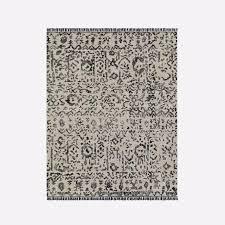 magura black white distressed fringed rug