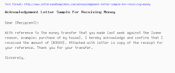 Acknowledgement Of Letter Received Acknowledgement Letter Sample For Receiving Money