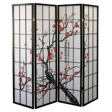 Amazon.com: Roundhill Furniture Black Japanese 4-Panel Screen Room Divider,  Plum Blossom: Kitchen & Dining